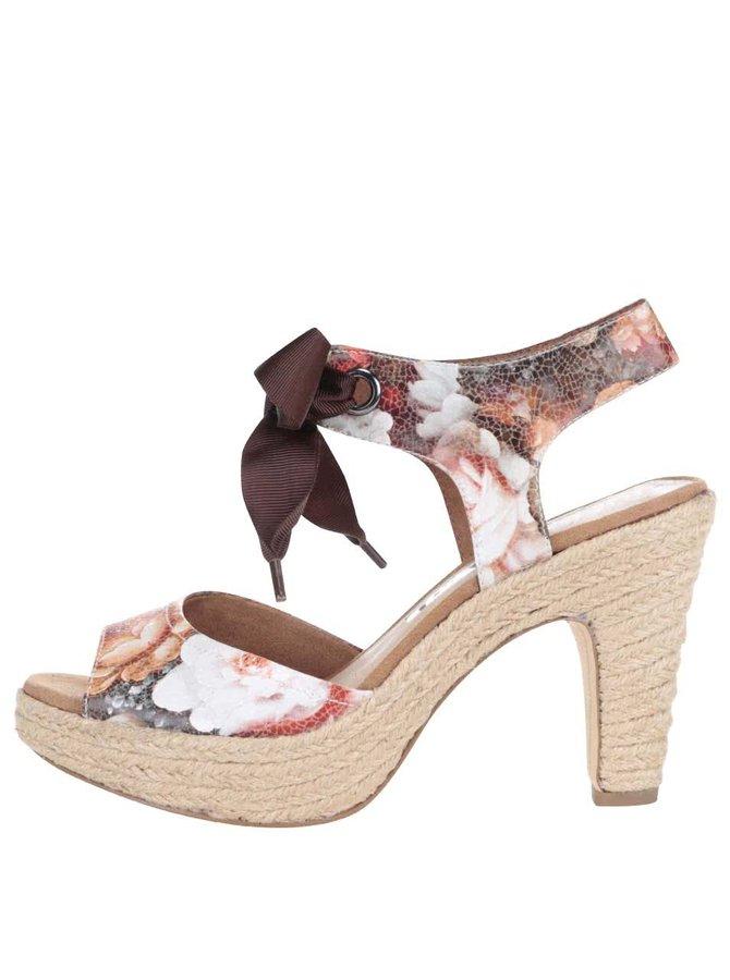 Sandale Tamaris cu model floral și fundă