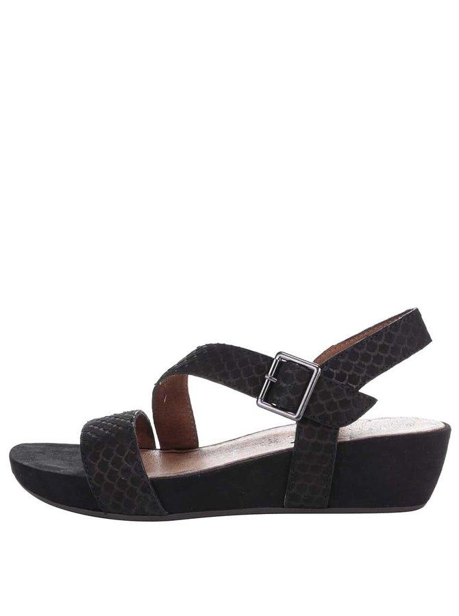 Černé kožené sandálky na klínku Tamaris