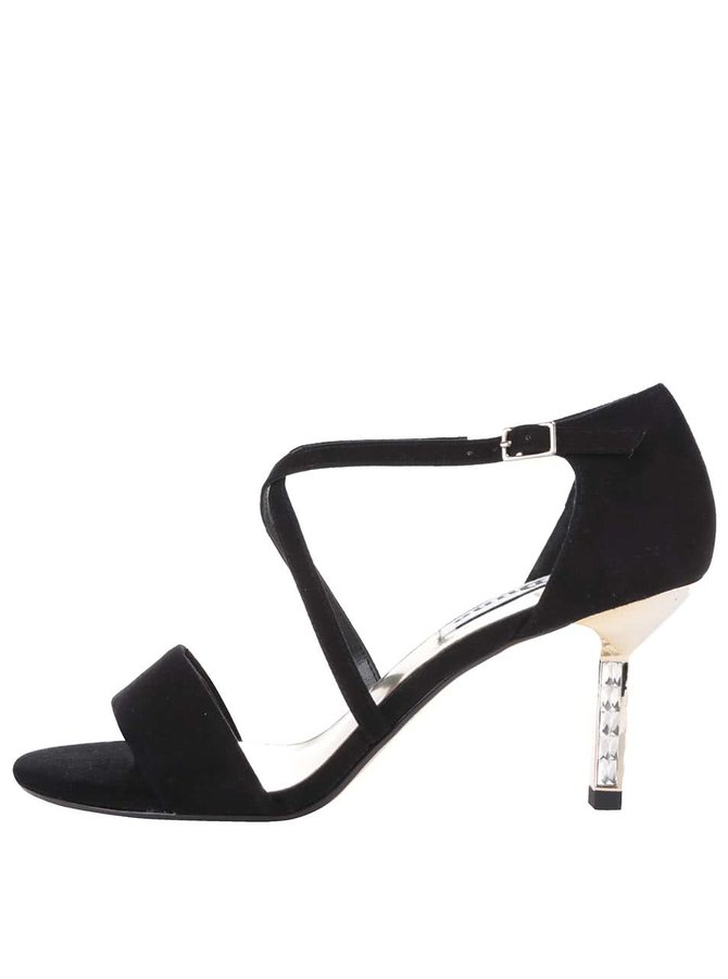 Čierne trblietavé kožené sandálky na podpätku Dune London Mindee
