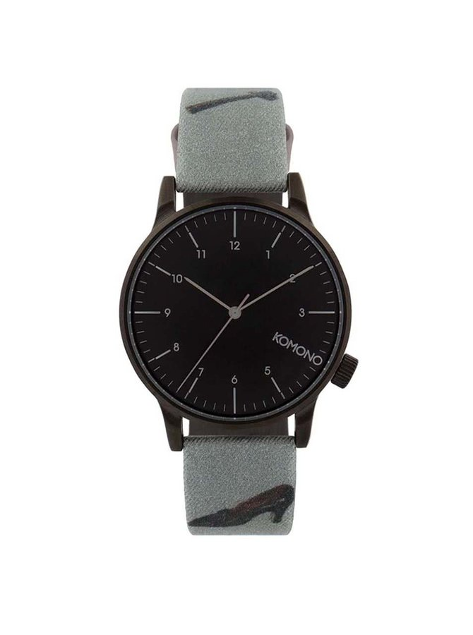 Tmavě šedé pánské hodinky s černým ciferníkem Komono Winston