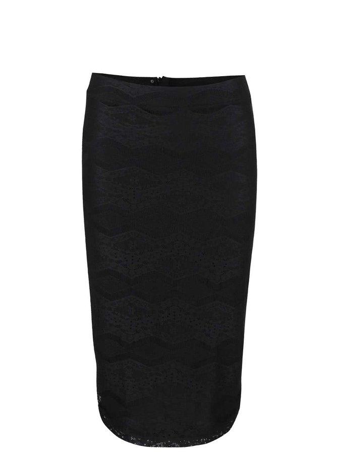 Čierna čipkovaná sukňa s rozparkom Dorothy Perkins