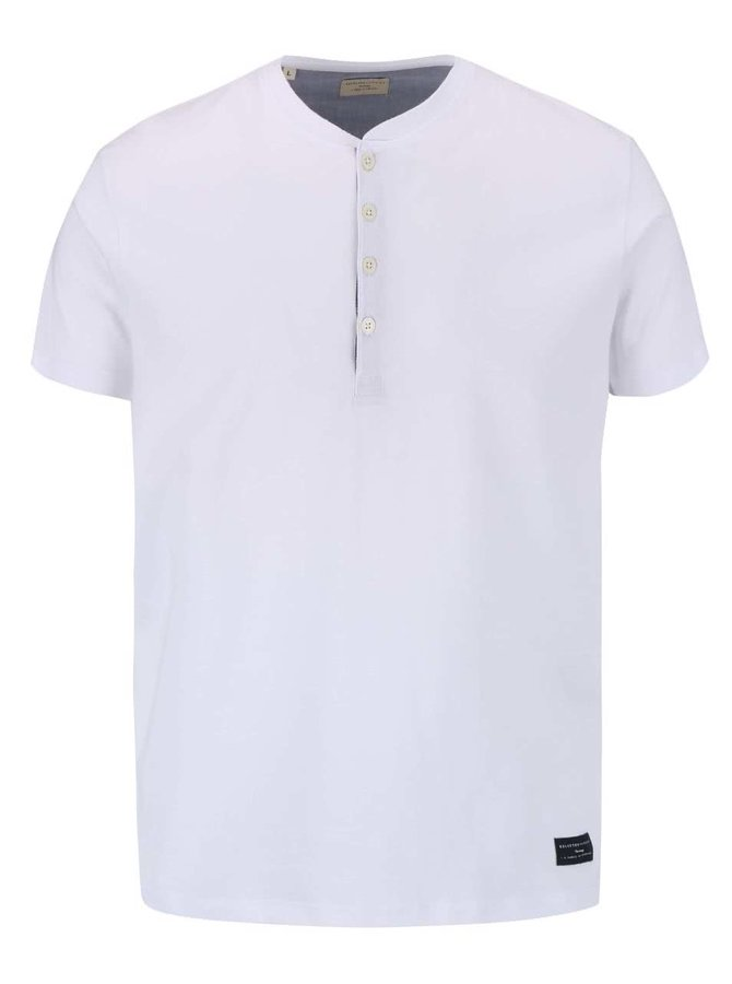 Bílé triko s knoflíky Selected Homme Niklas