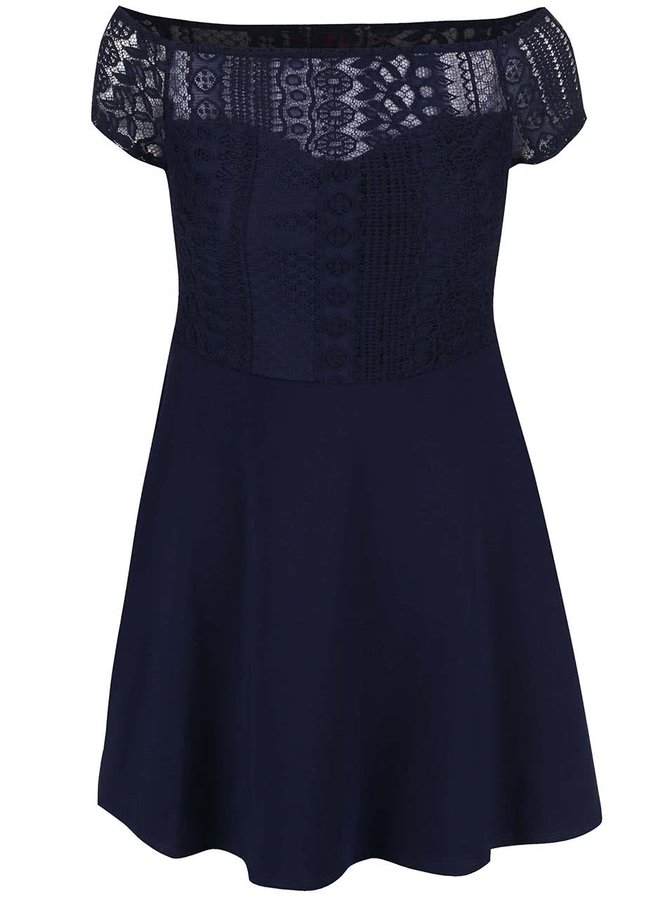 Tmavomodré šaty s čipkovaným topom Dorothy Perkins Petite