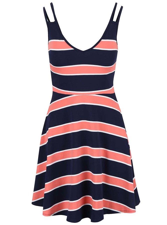 Korálovo-modré pruhované šaty na ramienka Dorothy Perkins