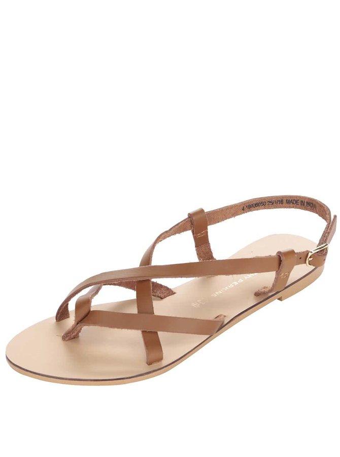 Hnedé kožené remienkové sandále Dorothy Perkins