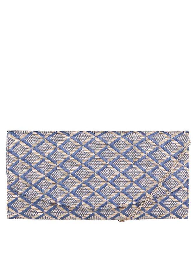 Modrá (listová) kabelka s béžovými vzormi a retiazkou v zlatej farbe OJJU