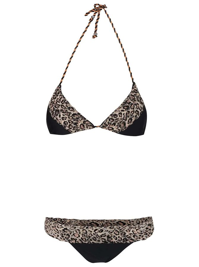 Čierne dvojdielne plavky s leopardím vzorom Relleciga