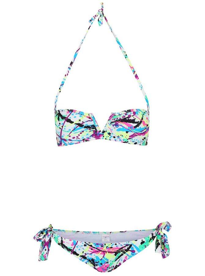 Biele dvojdielne plavky s farebnými vzormi Relleciga
