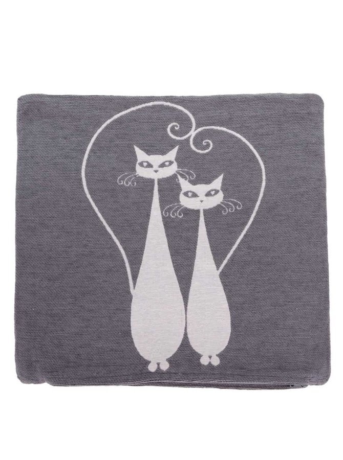 Krémovo-sivá obliečka na vankúš s motívom dvoch mačiek Dakls
