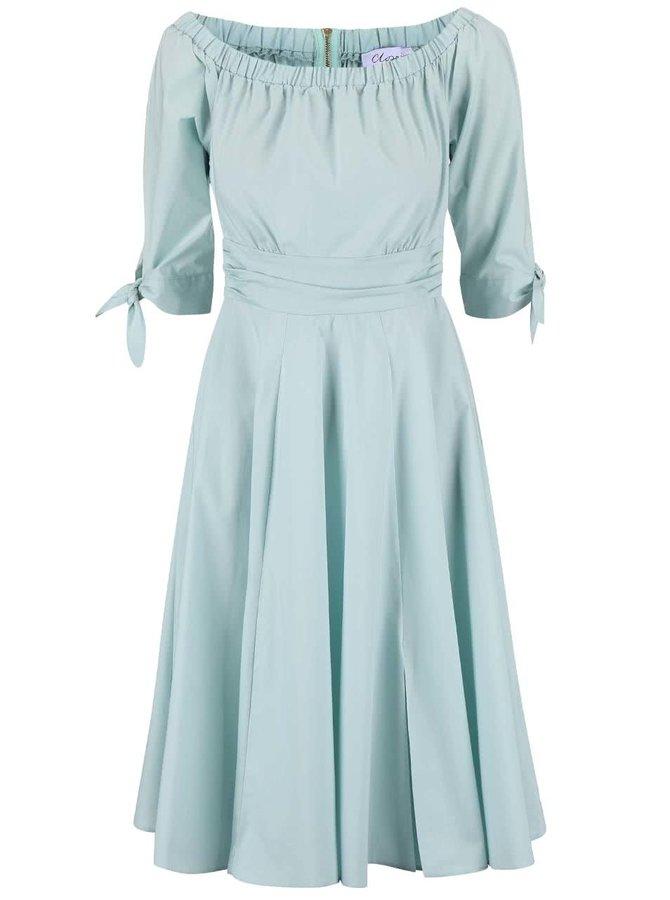 Mentolové šaty s odhalenými ramenami Closet
