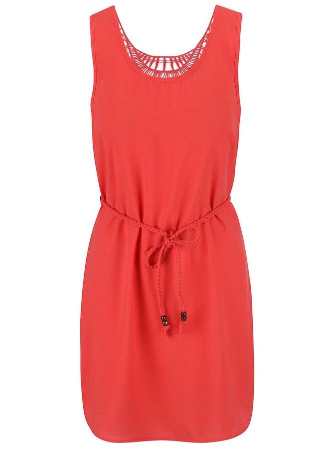 Ružové šaty s čipkovaným chrbtom a prepletaným opaskom ONLY  Karen