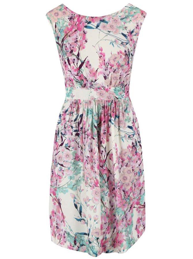 Krémové šaty s květovaným motivem Closet