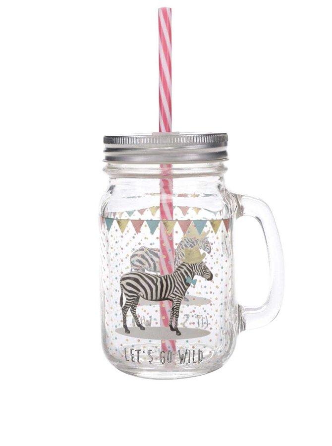 Skleněná nádoba s brčkem a motivem zebry Sass & Belle Party Animals
