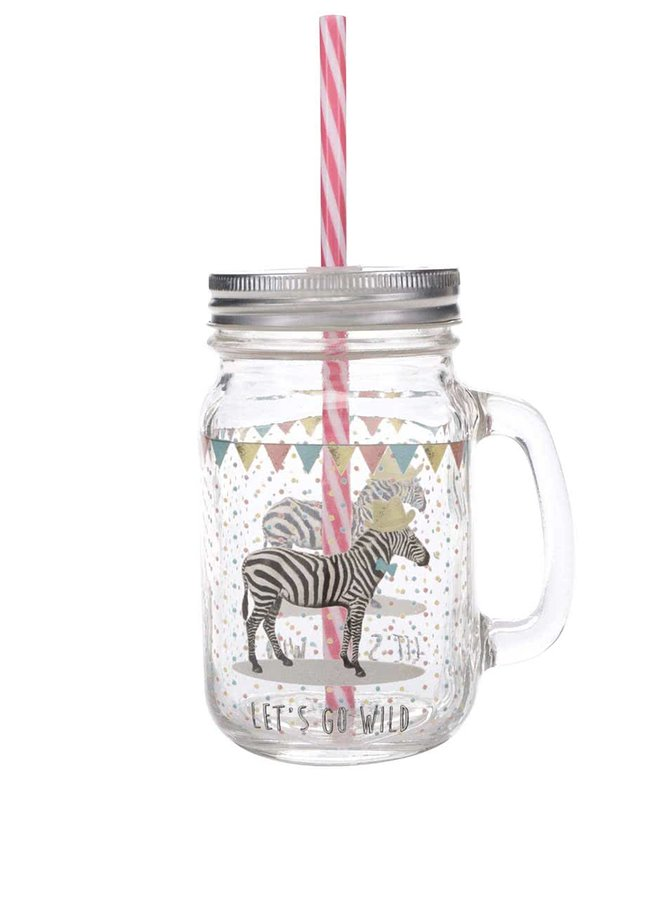Sklenená nádoba so slamkou a motívom zebry Sass & Belle Party Animals