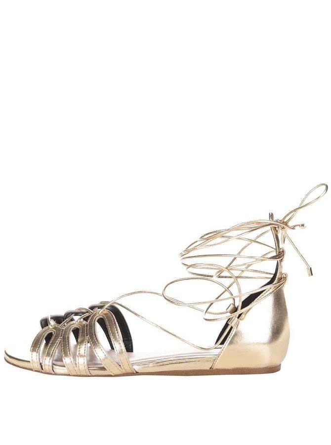 Lesklé sandály se šněrováním ve zlaté barvě ALDO Elireven