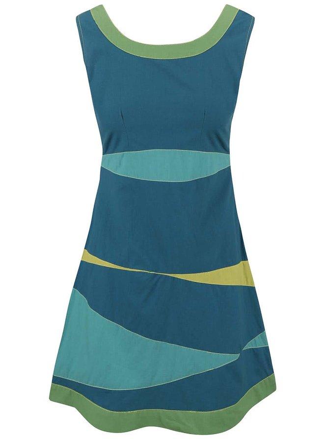 Tyrkysové šaty s farebnými pruhmi Tranquillo Guarana