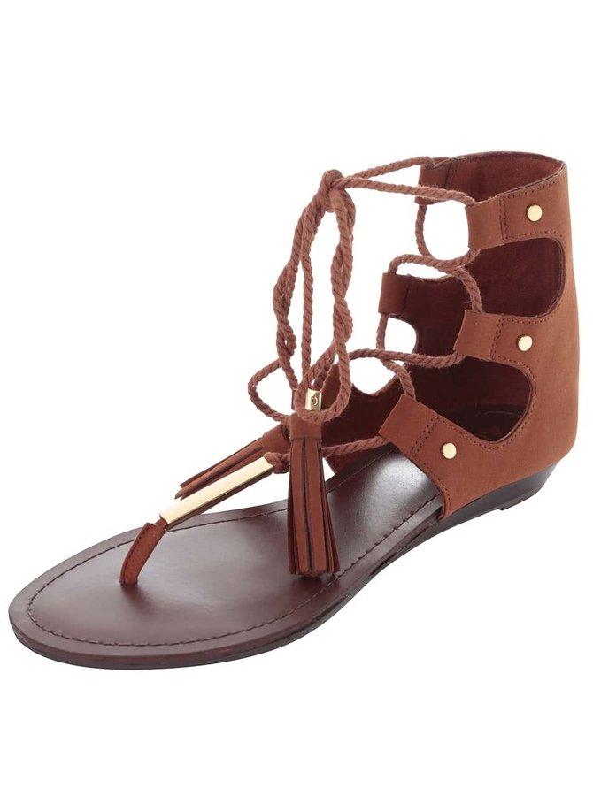 Hnědé sandály se šněrováním a zdobením ve zlaté barvě ALDO Jakki