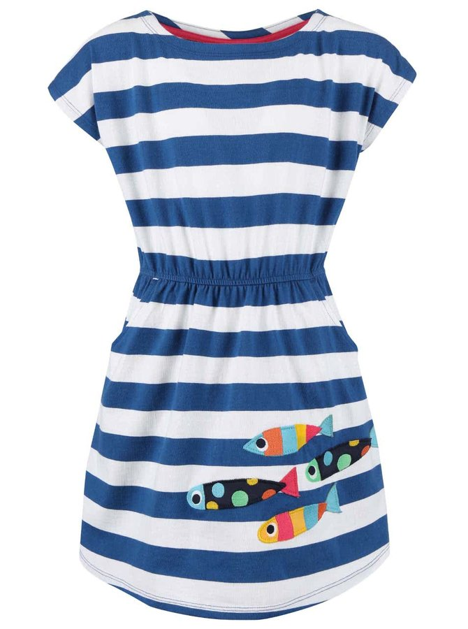 Bílo-modré dívčí šaty s rybkami Frugi Bryher