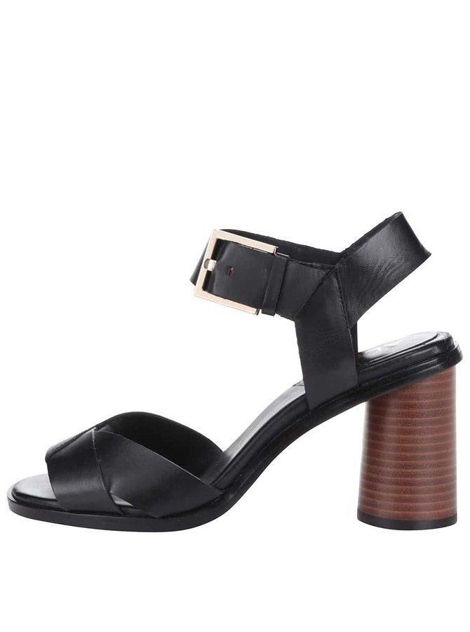 Černé kožené sandály na podpatku s přezkou ve zlaté barvě ALDO Ponticino