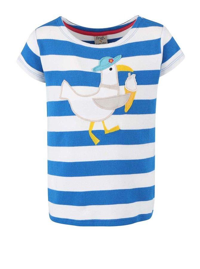 Bielo-modré dievčenské tričko s čajkou Frugi St. Ives Boat