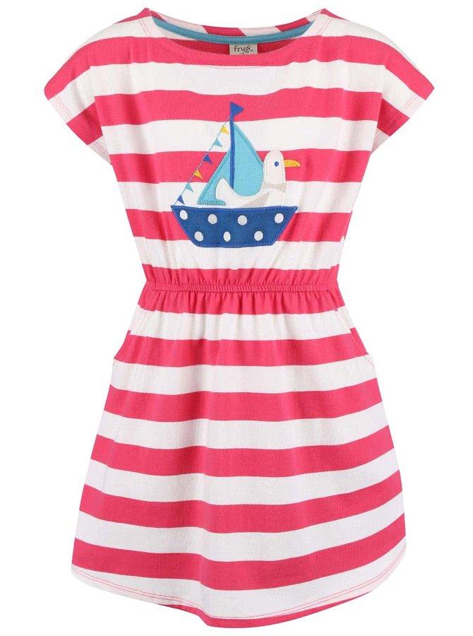 Bielo-ružové dievčenské šaty s loďkou Frugi Bryher