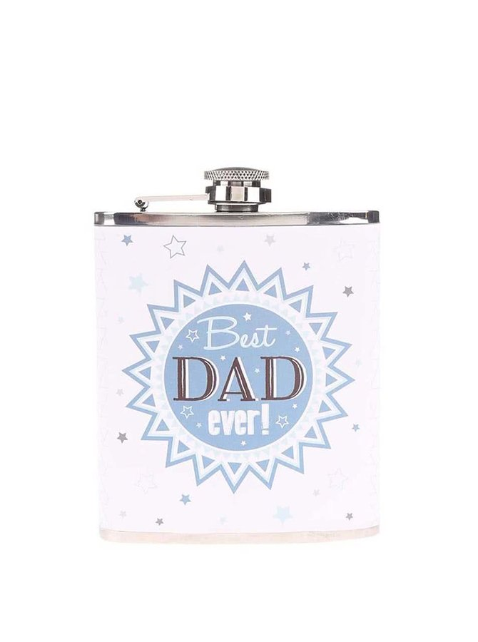 Biela ploskačka s modrou potlačou Sass & Belle Best Dad Ever