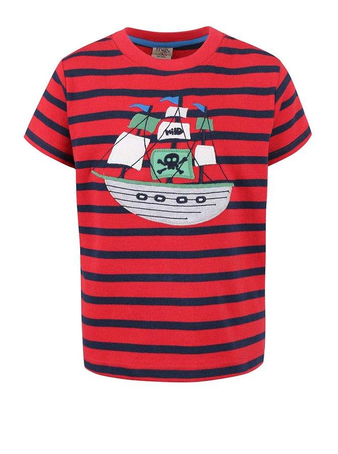 Červené chlapecké tričko s loďkou Frugi Ollie