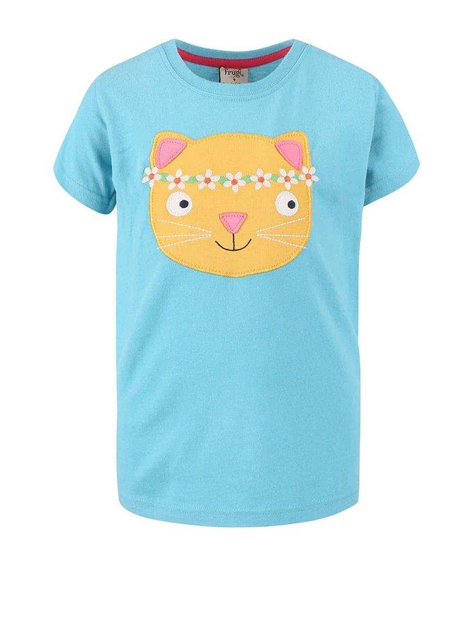 Tyrkysové dívčí tričko s kočkou Frugi Gwenver