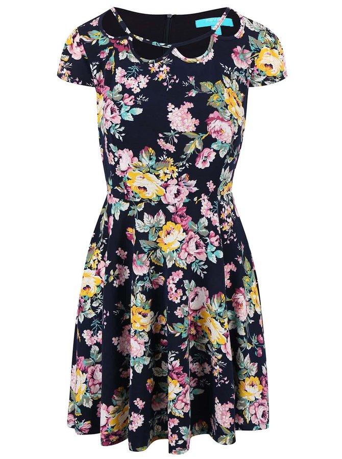 Tmavomodré kvetované šaty Fever London Ava