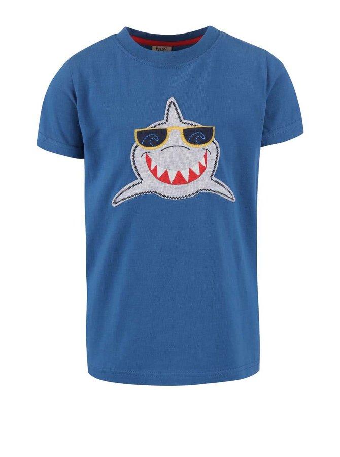 Tmavomodré chlapčenské tričko so žralokom Frugi Stanley