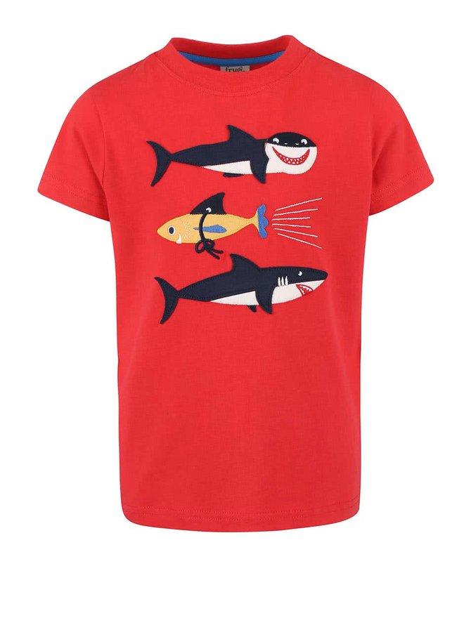 Červené chlapecké tričko se žraloky Frugi Stanley