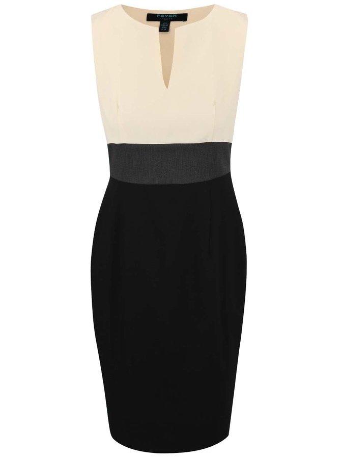 Béžovo-čierne šaty Fever London