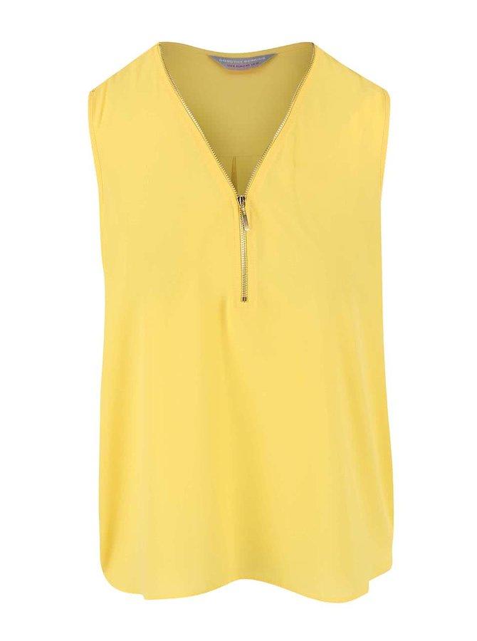 Žlutá halenka se zipem ve výstřihu ve zlaté barvě Dorothy Perkins Petite