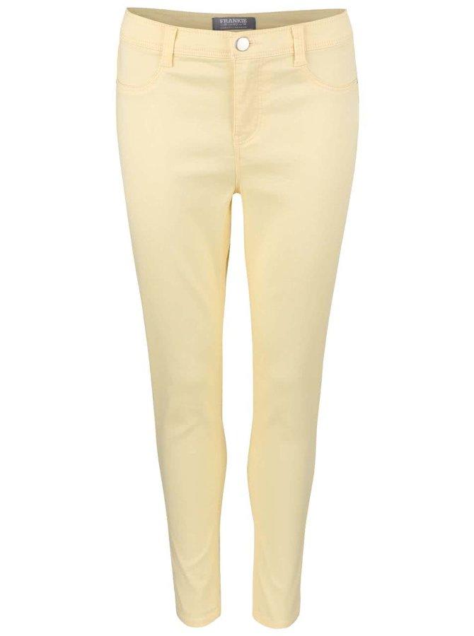 Svetložlté elastické capri nohavice Dorothy Perkins