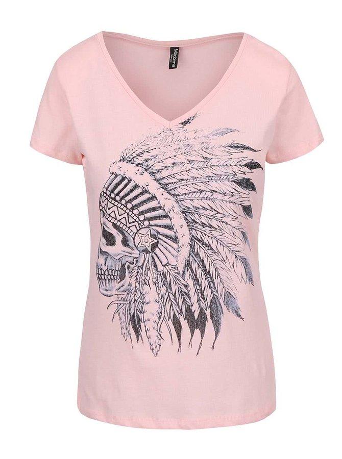 Ružové tričko s lebkou Madonna