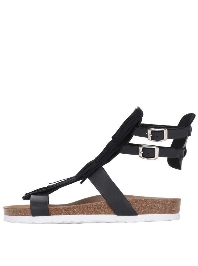 Černé dámské sandály s třásněmi OJJU