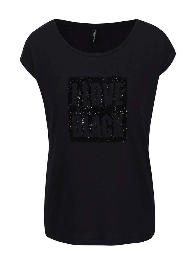 Čierne tričko s trblietavou aplikáciou Madonna