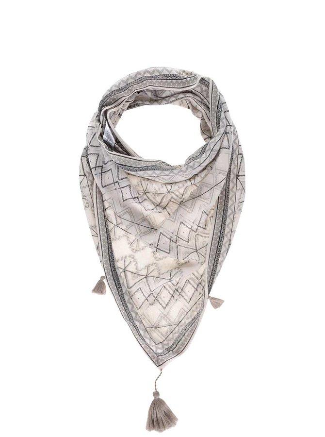 Krémový vzorovaný dutý šátek Pieces Bellatrix