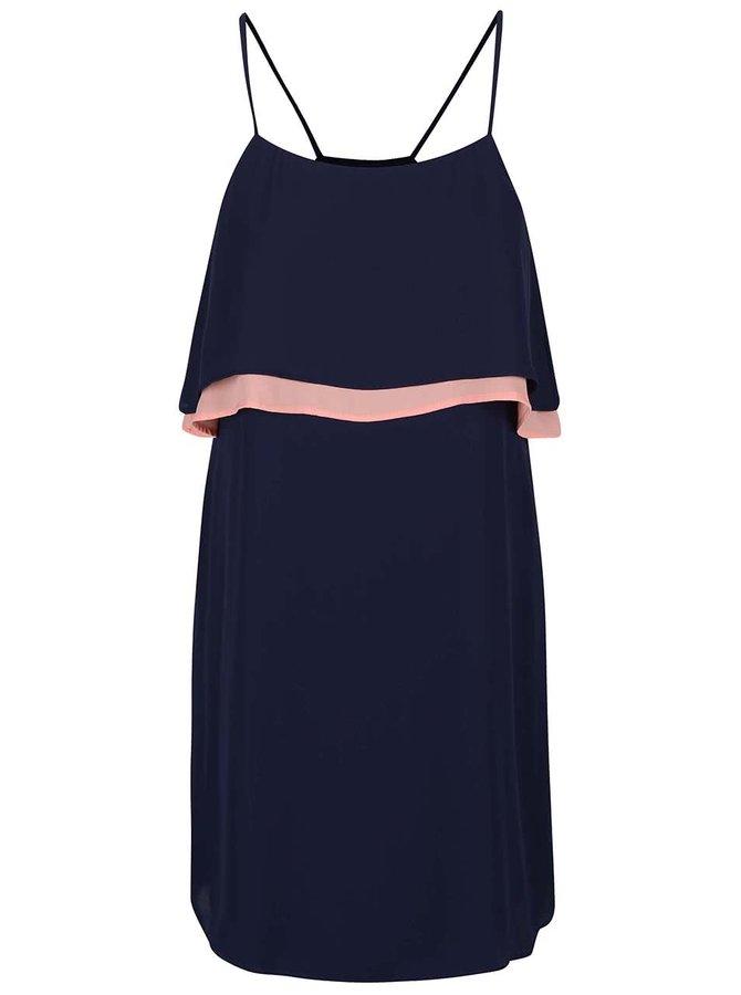 Modré šaty s růžovým volánem GINGER+SOUL
