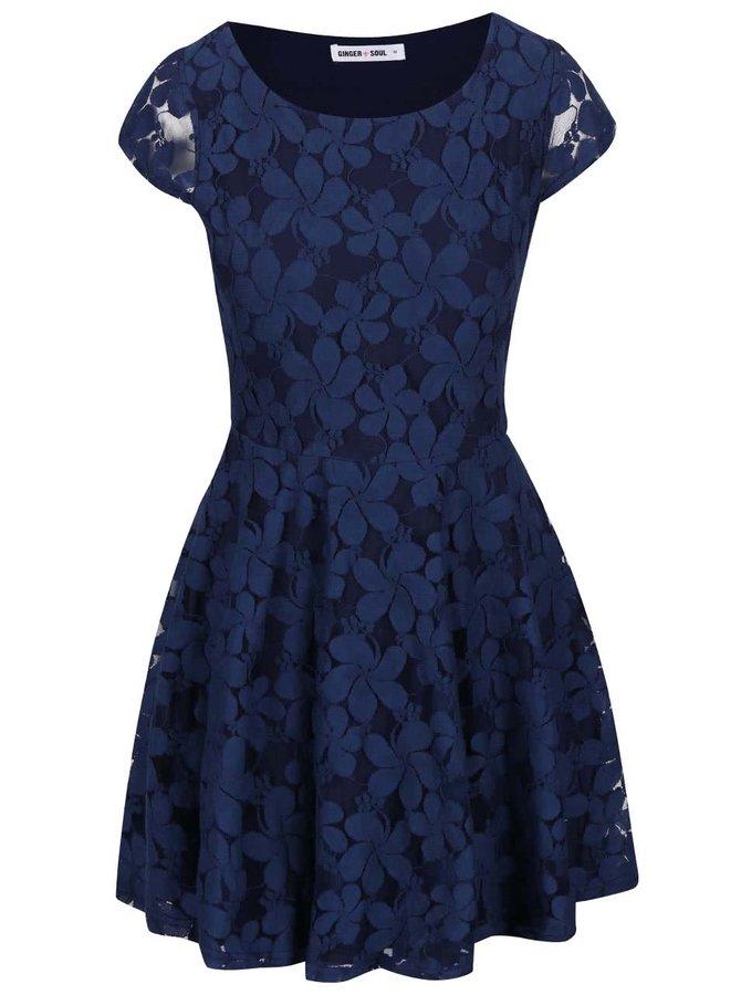 Tmavě modré krajkované šaty GINGER+SOUL