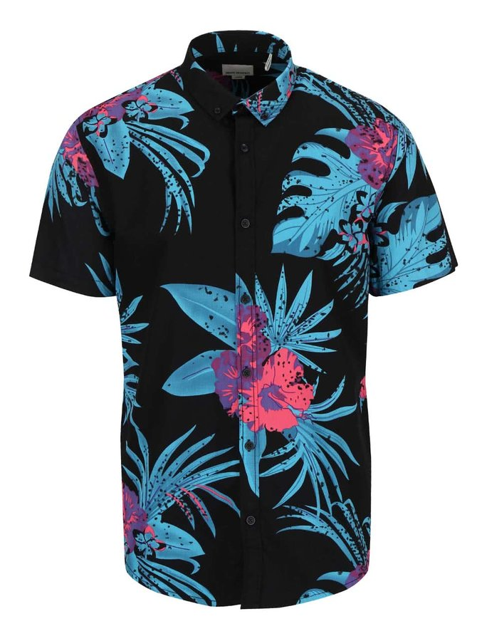 Černá košile s tropickým vzorem Shine Original Gibson Out