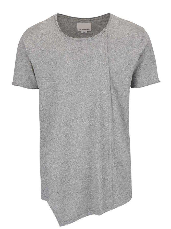 Sivé melírované asymetrické tričko Shine Original Long Oversize