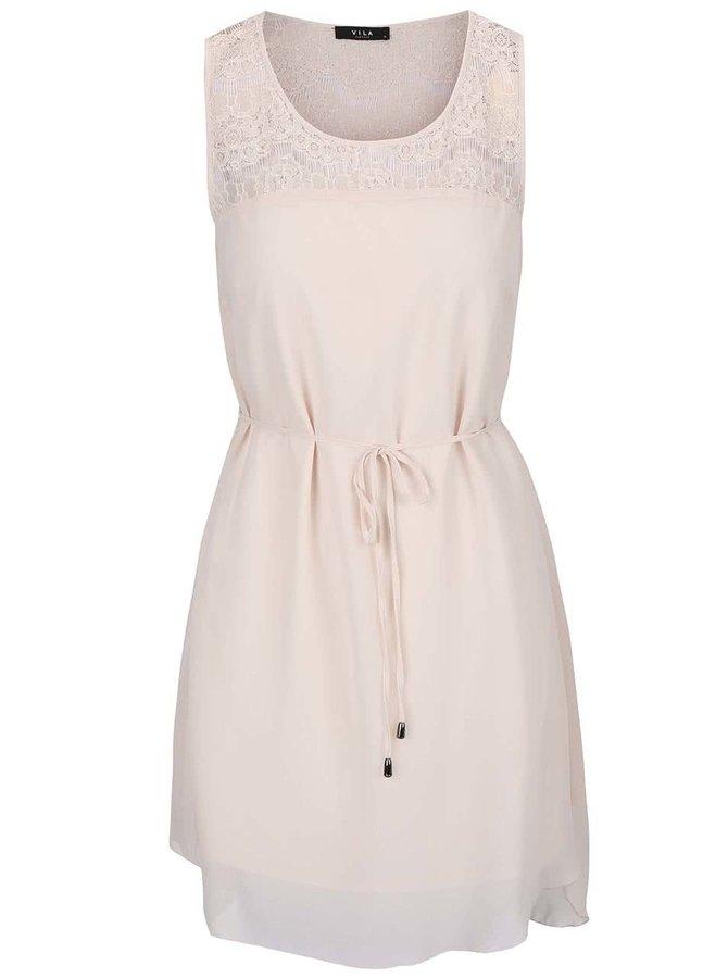 Krémové šaty s krajkou VILA Lela