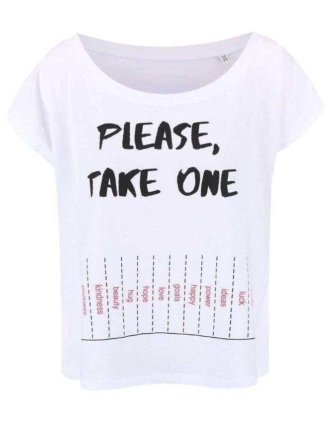 Bílé dámské volnější tričko ZOOT Originál Please Take One