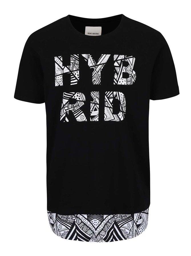 Tricou Shine Original Long Oversize negru cu mesaj