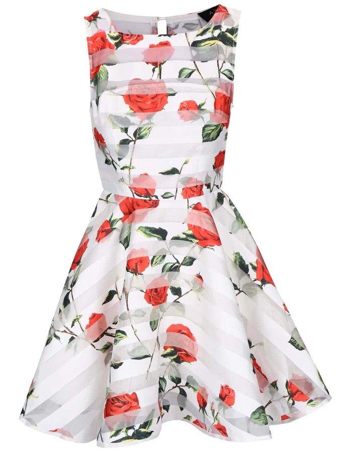 Biele šaty s červenými kvetmi AX Paris