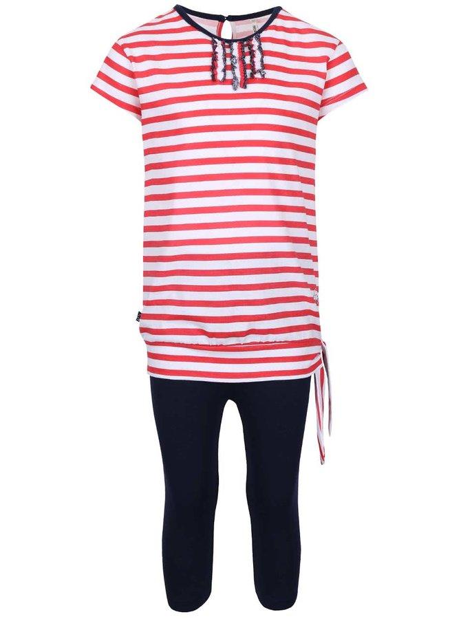 Set holčičích modrých legín a červeného pruhovaného trička North Pole Kids
