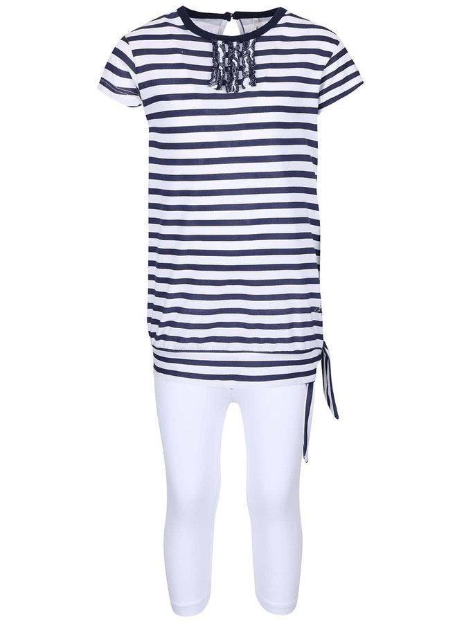 Súprava dievčenských bielych legín a pruhovaného trička v tmavomodrej farbe North Pole Kids