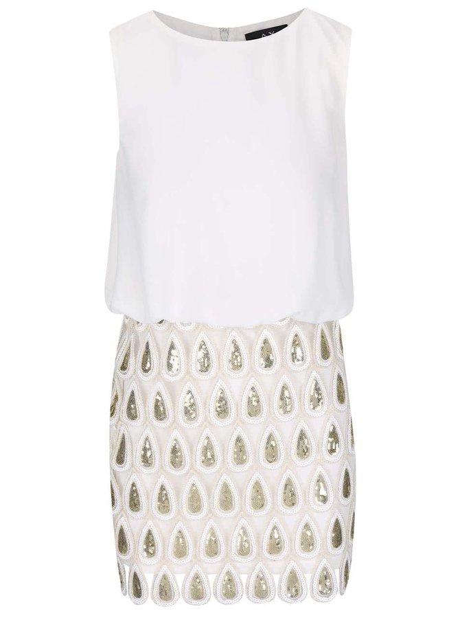 Krémové šaty se vzorem a flitry AX Paris