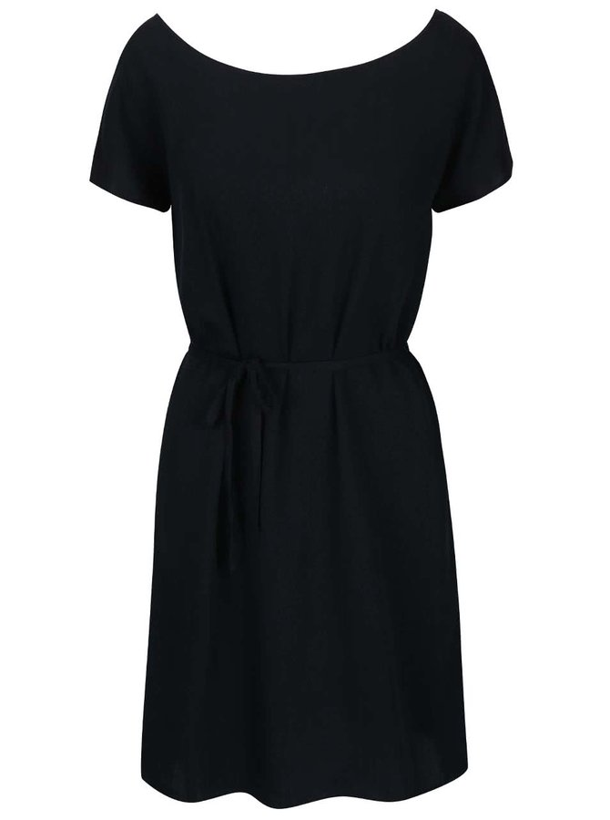 Černé volnější šaty s páskem ICHI Cece